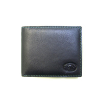 KWC2095 Mens Wallet Contrast stitching Black Kangaroo leather