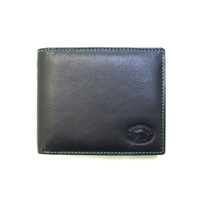 KWC2096 Mens wallet Contrast stitching Black kangaroo leather