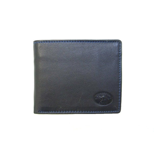 KWC3165 Mens Wallet Contrast stitching Black Kangaroo leather